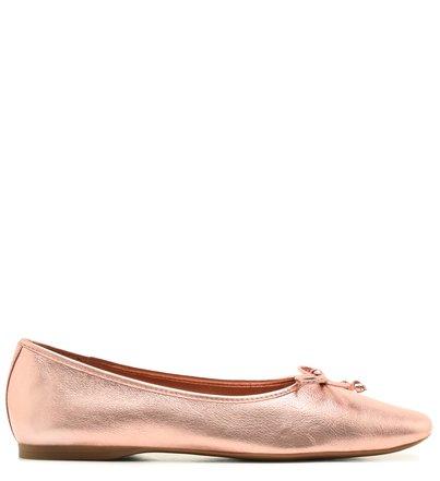 Sapatilha Couro  Metalizado Rosé Bico Quadrado Ballet