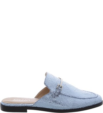Mule Flat Retrô Blue Little Metal | Arezzo