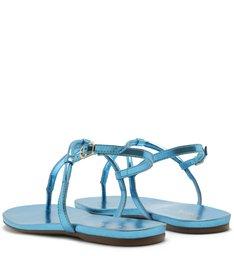 Sandália Rasteira Metalizada Tiras Azul