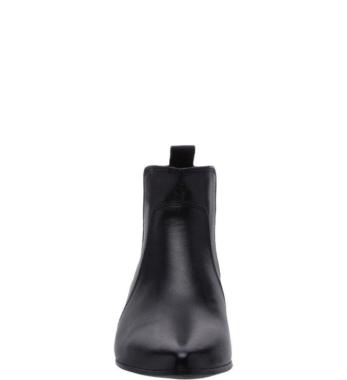 Ankle Boot Salto Baixo Cano Curto Elástico Preta