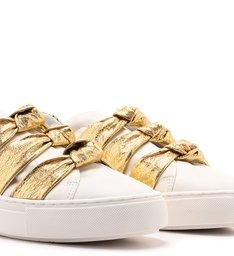 Tênis Slip On Branco Couro ZZ Girl Nó New Golden