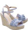 Sandália Plataforma Suede Drapeados Crystal Blue