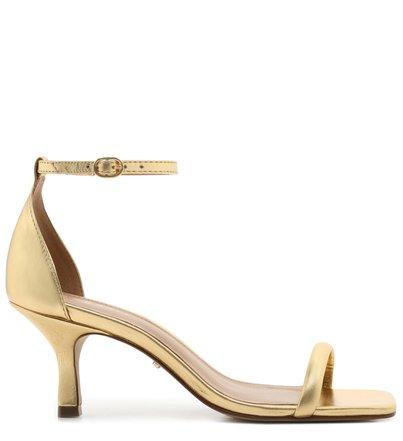Sandália Dourada Salto Taça Couro Bico Quadrado