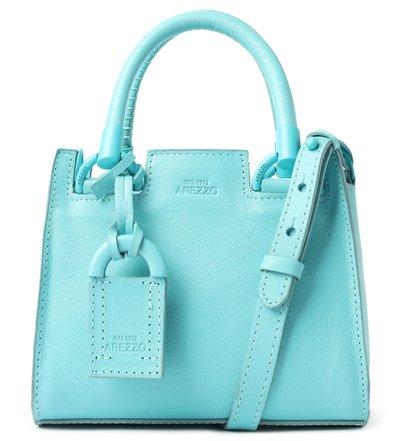 Bolsa Tote Azul Couro Abbraccio Pequena