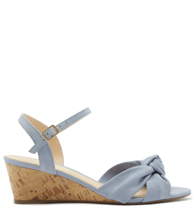 Sandália Salto Baixo Acamurçada Azul Jelly Blue