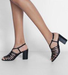 Sandália  Tiras Salto Bloco Trança Preta