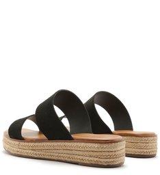 Sandália Flatform Acamurçada Salto Baixo Corda Preta