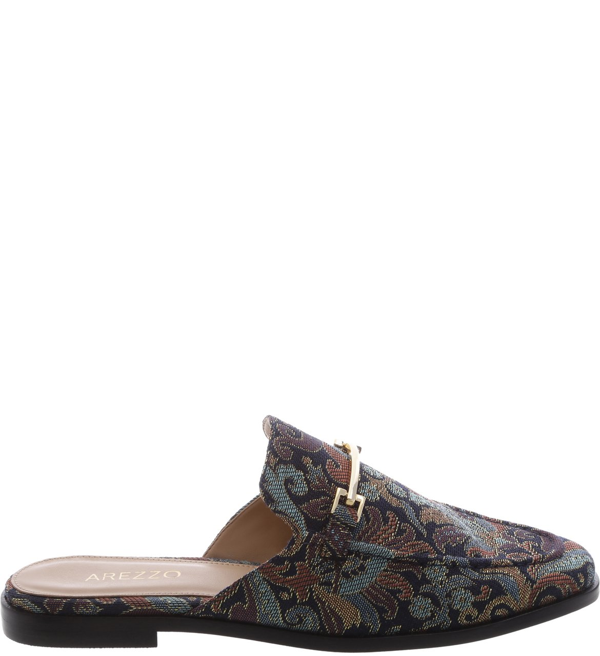 Mule Flat Retrô Jacquard Little Metal | Arezzo