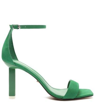 Sandália Verde Nobuck Salto Médio Fino