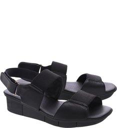 Sandália Soft Salto Baixo Tratorado Elástico Preta