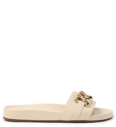 Slide Off-White Couro Flatform Corrente