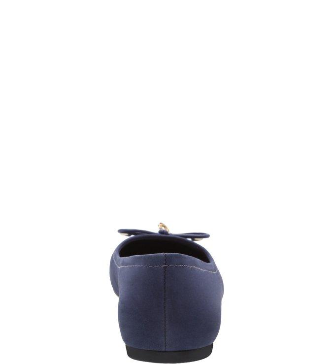 Sapatilha Couro Laço Navy Blue