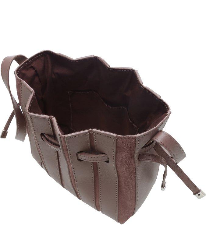 Bolsa  Bucket Pequena  Couro Parioli Marrom
