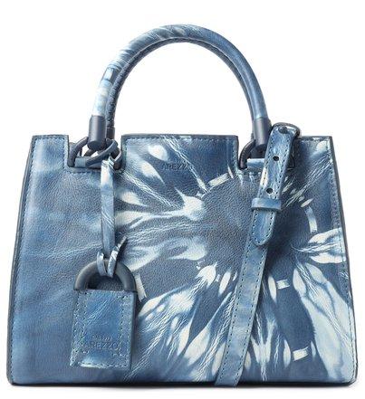 Bolsa Tote Azul Couro Tie-Dye Clara Pequena
