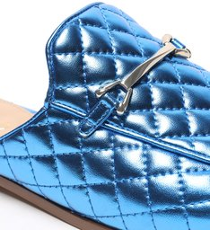 Mule Rasteira Azul Metal Matelassê Safira