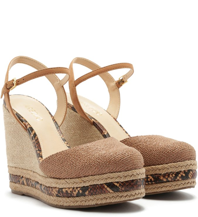 Espadrille Fibras Naturais Salto Alto Snake Brown e Natural Wood