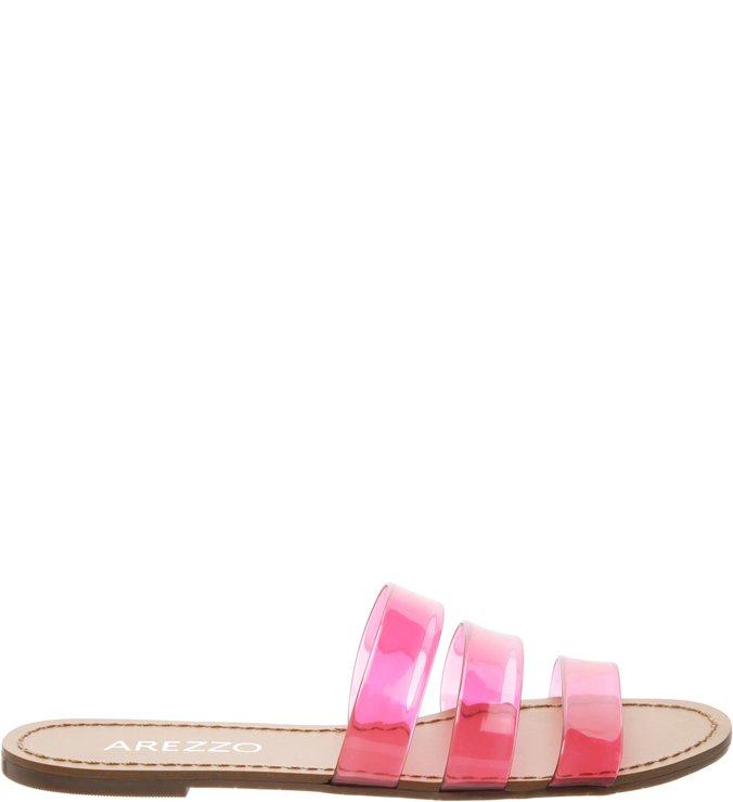 Chinelo Slide Tiras Transparente Pink | Arezzo