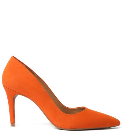 Scarpin Laranja Nobuck Salto Fino Light Damasco