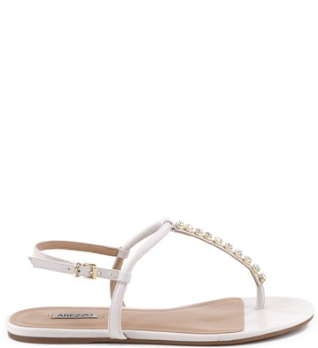Rasteira Tirinha Cristais Off-White