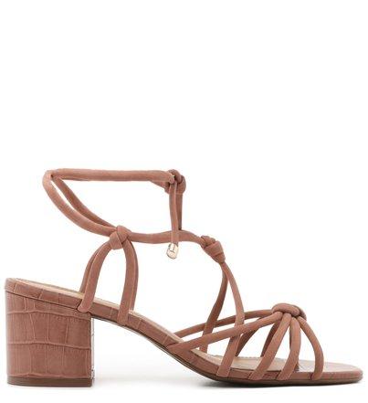 Sandália de Amarrar Bege Croco Salto Baixo