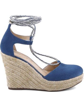 Espadrille Lace-up Suede Blue-Marine