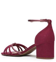 Sandália Vermelha Salto Bloco Tira Metalizada