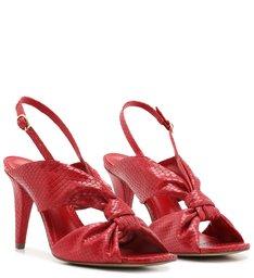 Sandália Vermelha Snake Salto Alto Bico Quadrado Neo Red