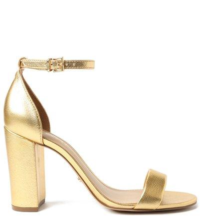 Sandália Dourada Couro Bloco Isabelli