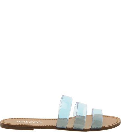 Chinelo Slide Tiras Transparente Azul