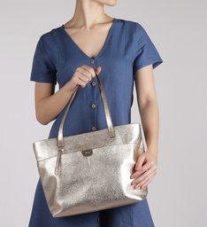 Bolsa Shopping Dourada Couro Andréia