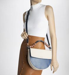 Bolsa Tiracolo Laura Média Off-White e Steel Denim