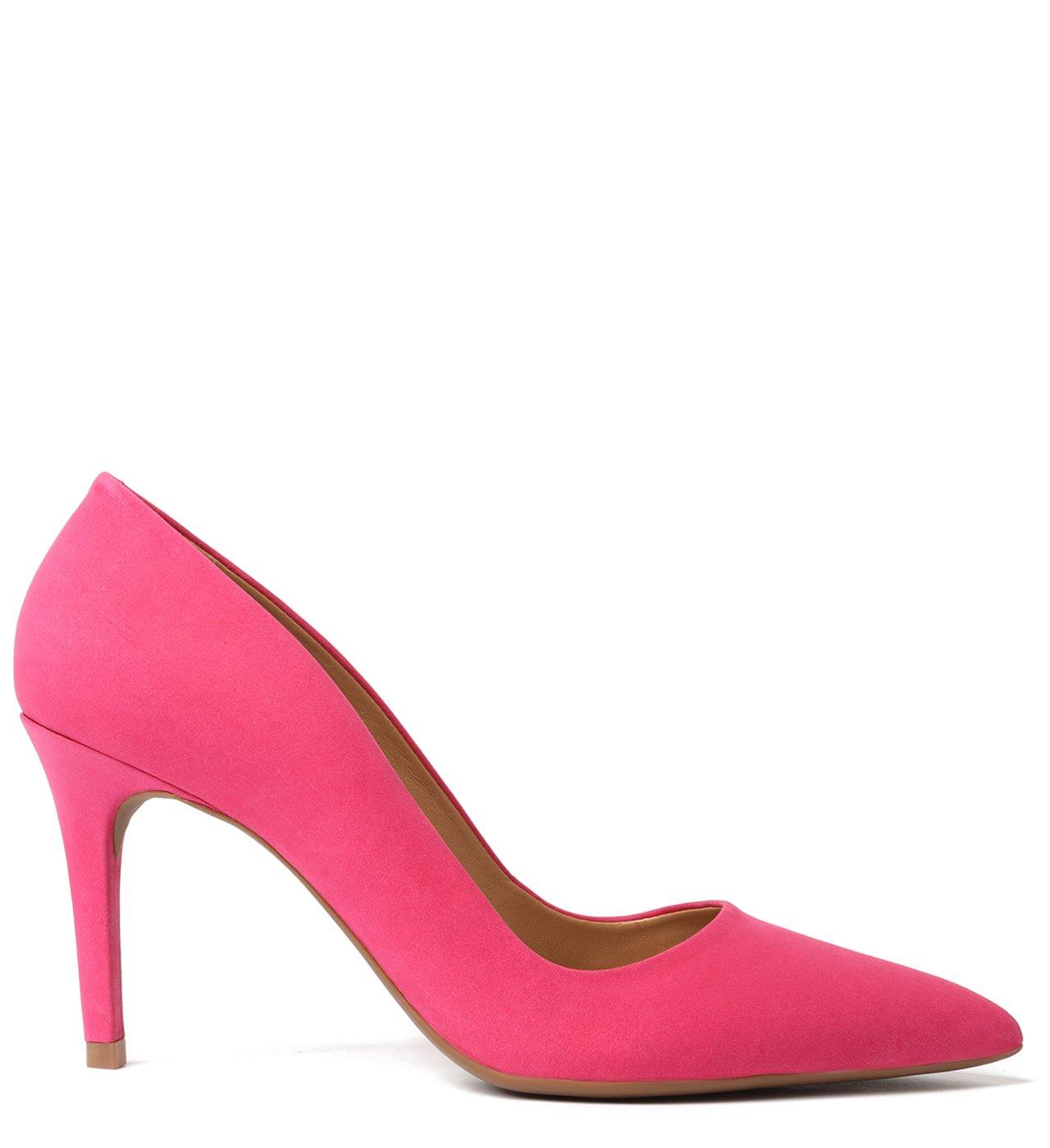 Scarpin Rosa Nobuck Salto Fino Fancy Pink   Arezzo