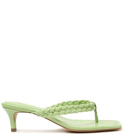 Sandália Verde Salto Fino Tira Trançada