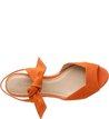 Sandália Anabela Nobuck Lace Up Orange Tango
