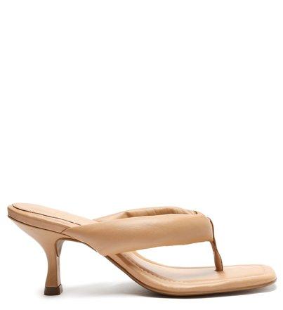 Sandália Nude Salto Fino Flip-Flop