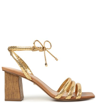 Sandália Dourada Snake Salto Médio Bloco