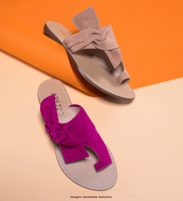 Rasteira Suede Knoted Urban Lady Pink