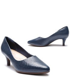 Scarpin Snake Soft Salto Baixo Fino Office Blue