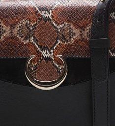 Bolsa Tiracolo Couro Isadora Pequena Snake Preta