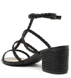 Sandália Preta Salto Bloco Trançados