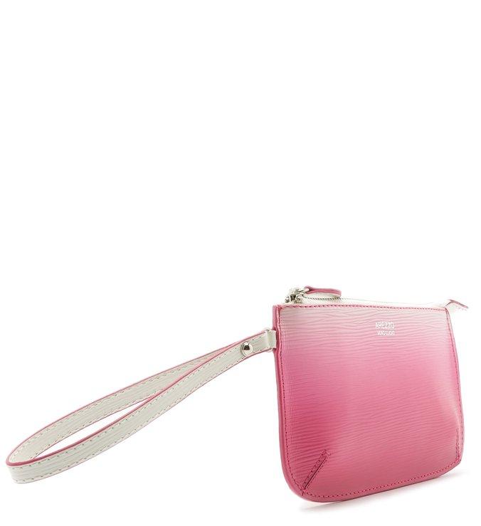 Necessaire Couro Bella Pequena Ombré Bianco e Summer Pink