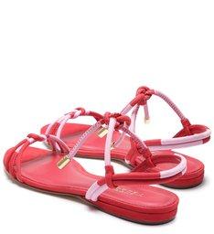 Rasteira Camila Nobuck Bicolor Nó Amarração Lust Red e Baby Pink