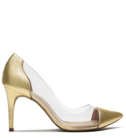 Scarpin Transparente Couro Salto Fino Dourado