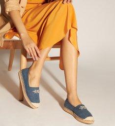 Alpargata Jeans com Aplicações de Bijoux
