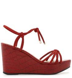 Sandália Plataforma Vermelha Croco Amarração Soft Rubi