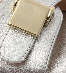 Rasteira Prata Clogs Fivela Dourada Silver