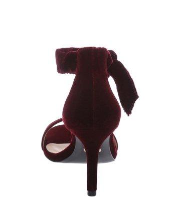 Sandália Lace-up Veludo Vinho