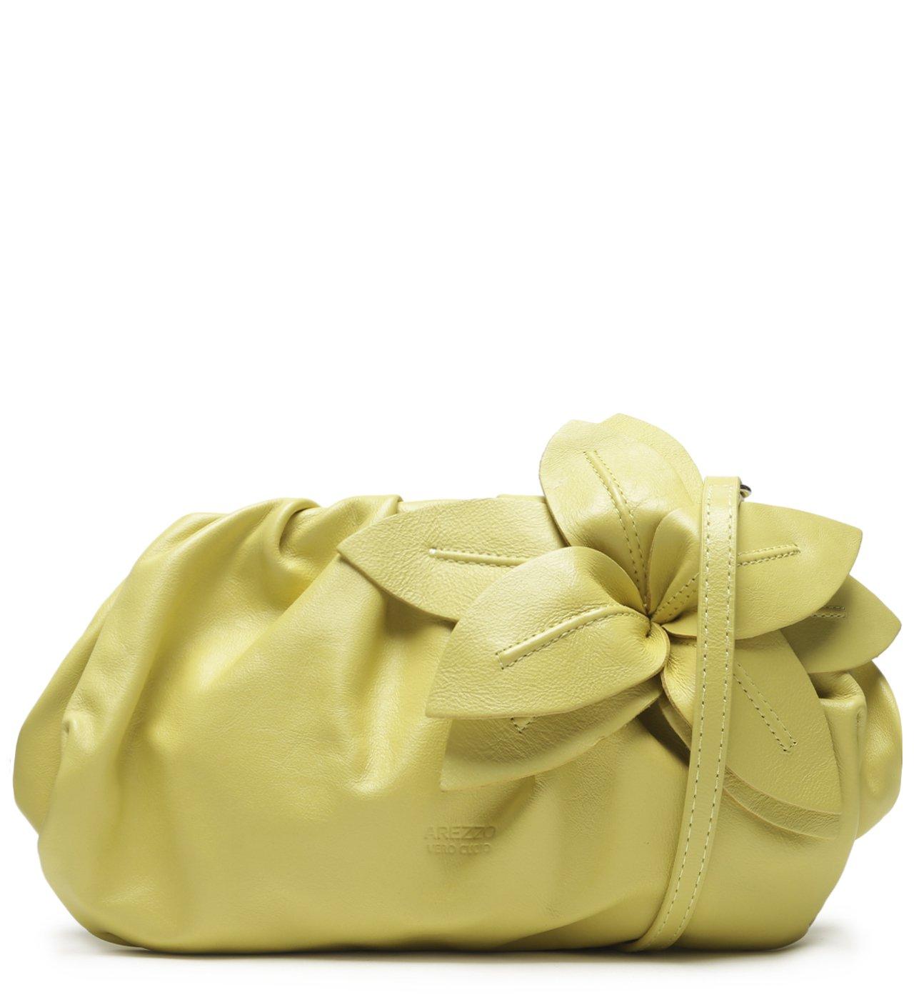 Bolsa Tiracolo Amarela Couro Lily Média | Arezzo