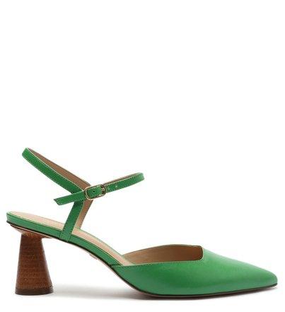 Scarpin Verde Couro Salto Geométrico