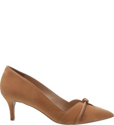 Scarpin Nobuck Salto Kitten Nozinho Natural Wood
